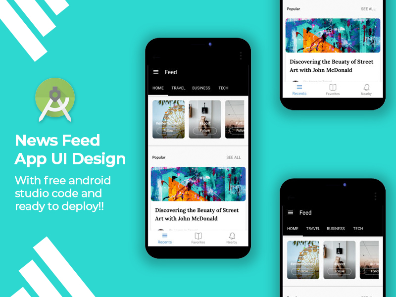 ronnystudio - free news feed app UI design with android code