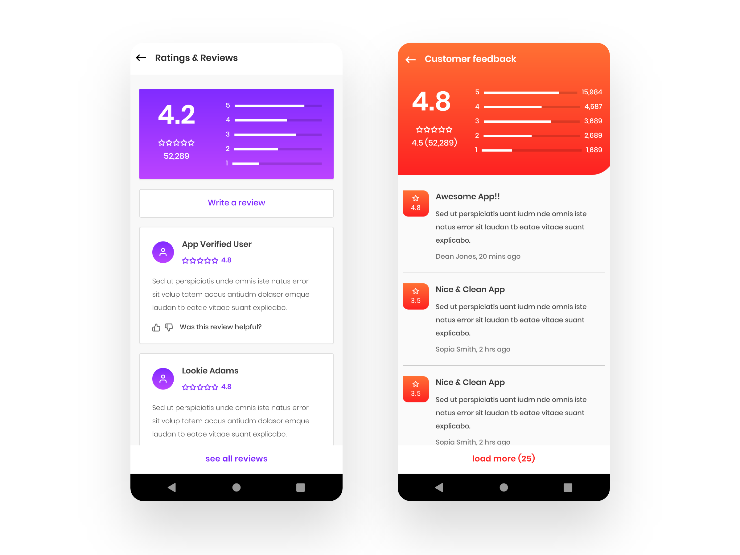 Review and Rating Screen - Android XML layout-ronnystudio