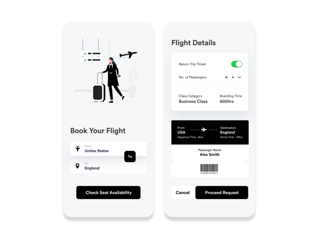 free android xml layout for Flight Booking App UI Concept