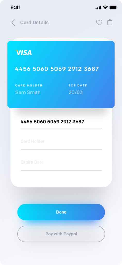 ronnystudio_Payment Screen for e-commerce app with android xml layout